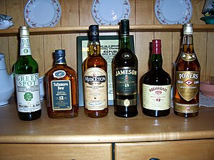 English: Various Irish whiskies. Picture by Ca...
