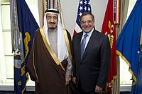 US Secretary of Defense Leon Panetta with Salman at the Pentagon in April 2012