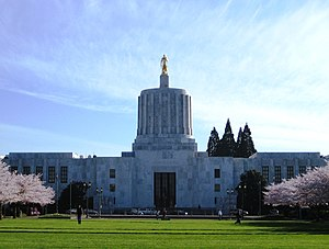 Front exterior of the Oregon State Capitol bui...