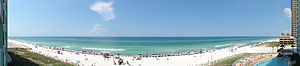 Beach panorama, Panama City Beach, Florida.