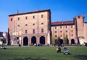 View of Palazzo della Pilotta. The rebuilt par...