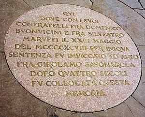 Plaque commemorating the spot where Girolamo S...
