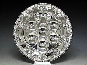 A silver Seder Plate made by Hadad Brother Sil...