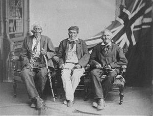 Studio portrait of the surviving Six Nations w...
