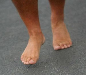 Bare feet running