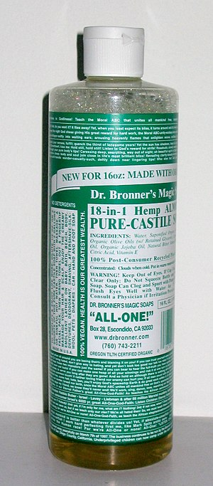 Bottle of Dr. Bronner's Magic Soap