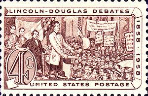 English: Lincoln-Douglas Debates, 1958 America...