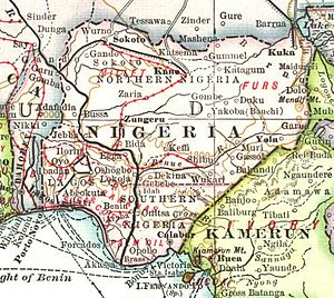 Map of colonial Nigeria in 1909