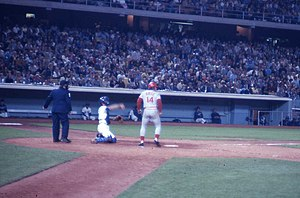 Pete Rose at bat in a game at Dodger Stadium d...