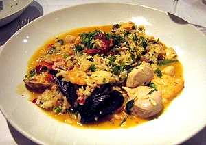 Italian seafood with rice plate, called Risott...