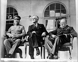 Stalin, U.S. President Franklin D. Roosevelt, and British Prime Minister Winston Churchill at the Tehran Conference, November 1943.
