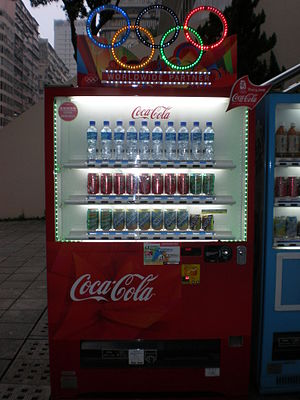 A Coke vending machine with the Olympic rings ...