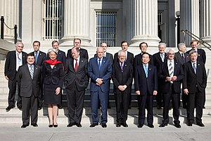 G7 finance ministers at the 2008 meeting (fron...