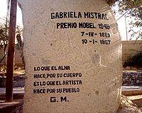 Recuerdo a Gabriela Mistral en Vicuña.