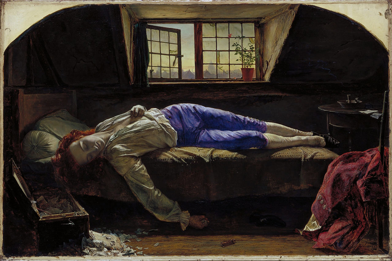 The romantic poet Thomas Chatterton dead in his Grub Street garret with a view of St Paul's - centre of England's publishing industry - through the window