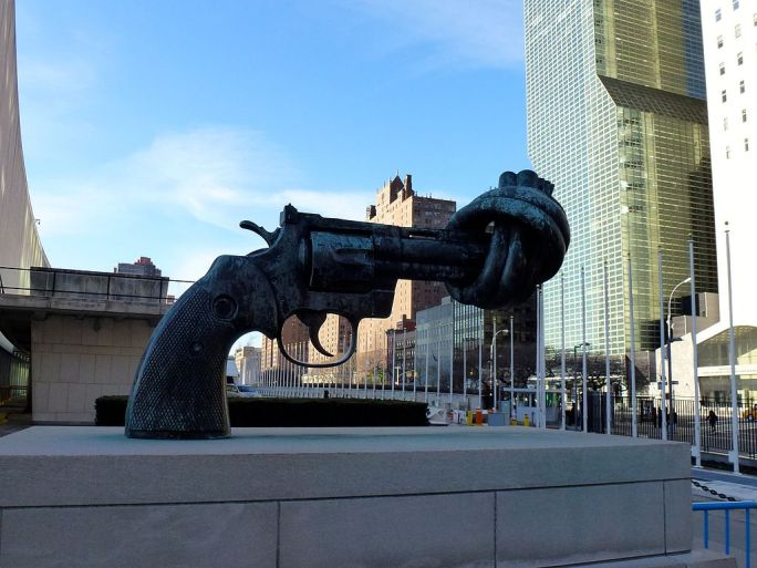 Non-Violence sculpture in front of UN headquarters NY