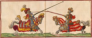 Renaissance-era depiction of a joust in tradit...