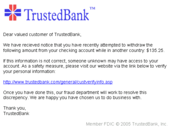 An example of a phishing e-mail, disguised as ...