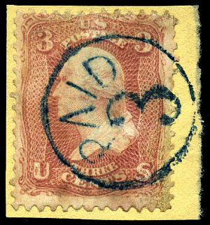 Stamp US 1861 3c PAID 3