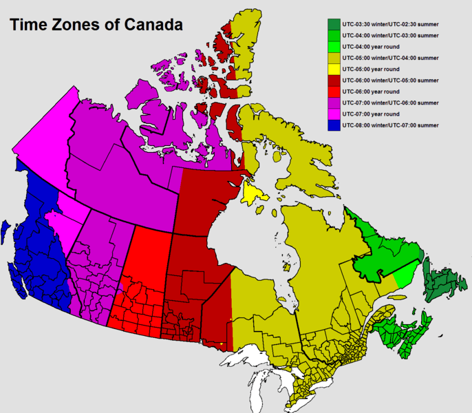 Map of time zones in Canada