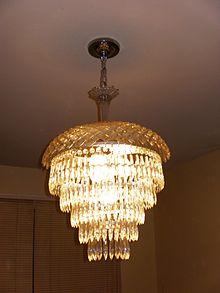 Chandelier   Wikipedia A five tier wedding cake chandelier with a crystal top