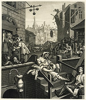 William Hogarth's engraving Gin Lane, as repro...