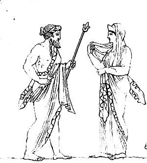 Zeus & Héra, dessin du bas-relief d'un autel r...