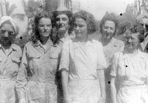 English: Army Nurses in Santo Tomas Internment...