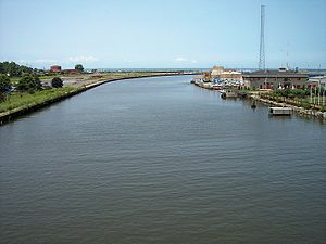 The Black River at its mouth at Lake Erie in L...