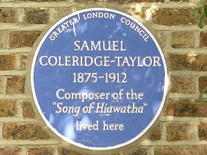 English: Blue Plaque for Samuel Coleridge-Tayl...