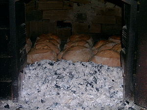 Bread in a traditional oven