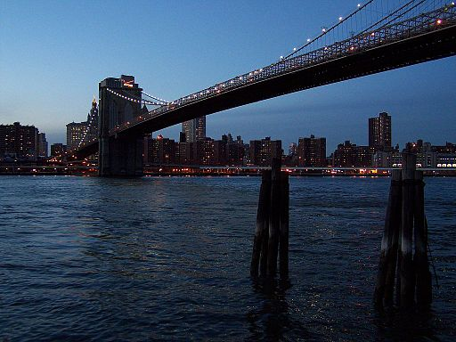 Brooklyn Bridge East River dusk 2010
