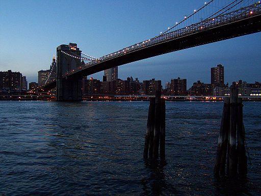 Brooklyn Bridge East River dusk 2010