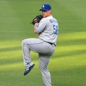 A picture taken of Chad Billingsley warming up...