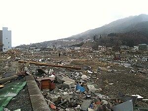 English: Devastation after tsunami in Rikuzent...