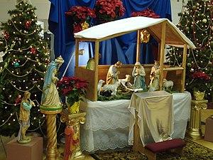 Nativity scene at Sacred Heart Catholic Church...