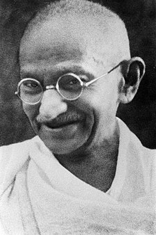 Mohandas Karamchand Gandhi, pictured in the 1930s, from Wikipedia