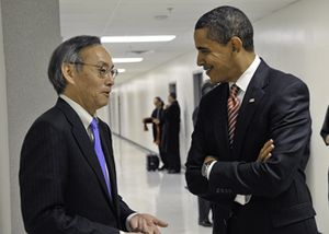 Secretary of Energy Steven Chu (left) meeting ...