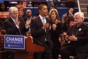 English: John Larson, Barack Obama, Caroline K...