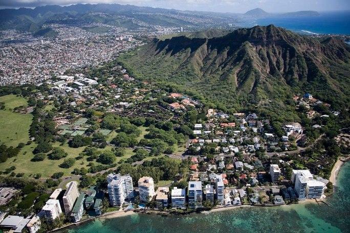Aerial view of Waikiki Beach and Honolulu, Hawaii, Highsmith