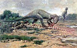 Um alossauro comendo os restos de um sarópode.