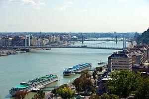 Looking down the Danube toward the Elizabeth B...