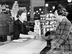 Buying food at the Eaton's department store us...
