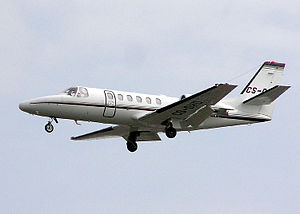 English: Cessna Citation 550 business jet (CS-...