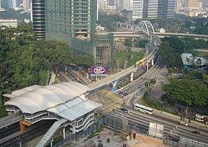 View of the Bukit Nanas KL Monorail station fr...