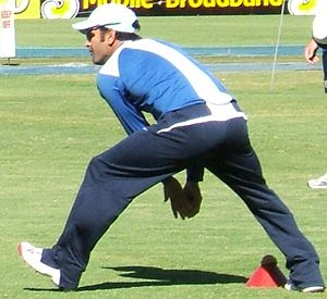 Mahendra Singh Dhoni bowlingat Adelaide Oval