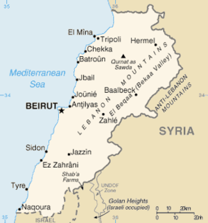 Map of Lebanon from the CIA World Factbook. Ty...