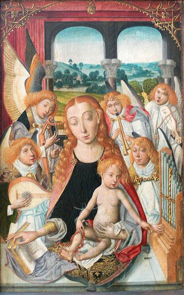 File:Muttergottes mit musizierenden Engeln um 1490 ohne Rahmen.jpg