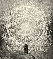 Dante y Beatriz en el Para�so; de Gustave Doré,ilustración de la Divina Comedia, Para�so, Canto 31.