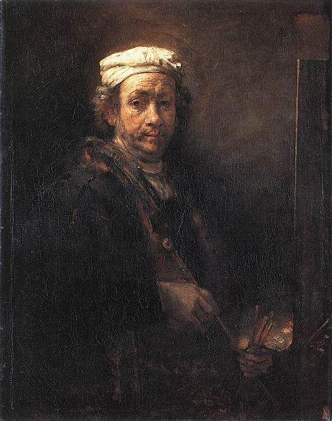 Autorretrato con pintura y pinceles, Rembrandt, 1660